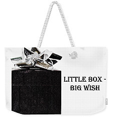 Weekender Tote Bag featuring the photograph Black Present With A Silver Bow by Vizual Studio