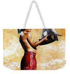 Little Boy In The Beach Weekender Tote Bag