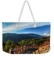 Weekender Tote Bag featuring the photograph Little Cataloochee Overlook In Summer by Debbie Green