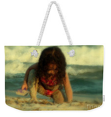 Weekender Tote Bag featuring the photograph Little Girl At The Beach by Lydia Holly