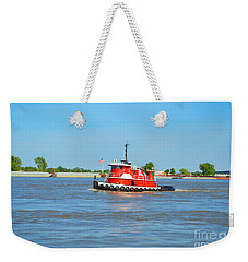 Little Red Boat On The Mighty Mississippi Weekender Tote Bag by Alys Caviness-Gober