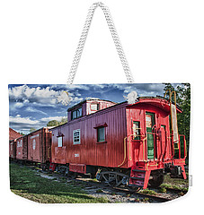 Little Red Caboose Weekender Tote Bag by Guy Whiteley