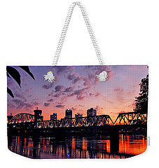 Weekender Tote Bag featuring the photograph Little Rock Bridge Sunset by Mitchell R Grosky