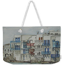Weekender Tote Bag featuring the painting Little Venice Mykonos Greece by Malinda  Prudhomme
