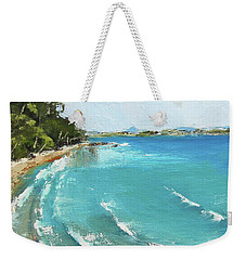 Weekender Tote Bag featuring the painting Litttle Cove Beach Noosa Heads Queensland Australia by Chris Hobel