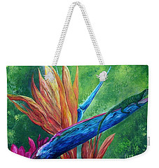 Weekender Tote Bag featuring the painting Lizard On Bird Of Paradise by Eloise Schneider