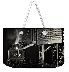Weekender Tote Bag featuring the photograph Loading Water At Chama Train Station by Priscilla Burgers