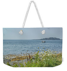 Weekender Tote Bag featuring the photograph Lobster Boat At Rest by Jane Luxton