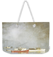 Lobster Boats At Anchor Bar Harbor Maine Weekender Tote Bag by Carol Leigh