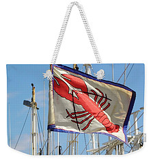 Weekender Tote Bag featuring the photograph Lobster Flag At The Point by Mary Carol Williams