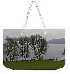 Loch Ness And Boat Jetty Next To Urquhart Castle Weekender Tote Bag
