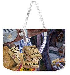 Weekender Tote Bag featuring the painting Locks Of Luck by Lynne Reichhart