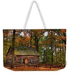 Log Cabin In Autumn Color Weekender Tote Bag