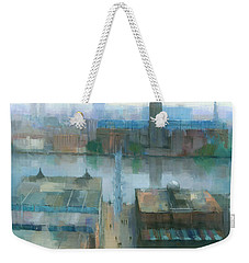Weekender Tote Bag featuring the painting London Cityscape by Steve Mitchell