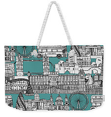London Toile Blue Weekender Tote Bag by Sharon Turner