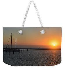 Lone Bird At The Marina Weekender Tote Bag by Leticia Latocki