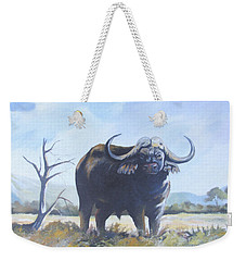Weekender Tote Bag featuring the painting Lone Bull by Anthony Mwangi