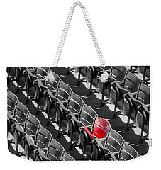 Lone Red Number 21 Fenway Park Bw Weekender Tote Bag by Susan Candelario