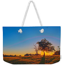 Weekender Tote Bag featuring the photograph Lonely Tree On Farmland At Sunset by Alex Grichenko