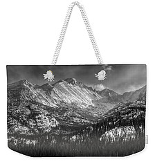 Longs Peak Rocky Mountain National Park Black And White Weekender Tote Bag