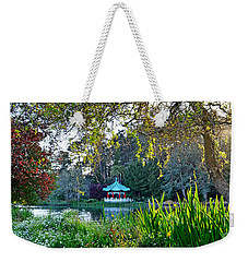 Looking Across Stow Lake At The Pagoda In Golden Gate Park Weekender Tote Bag by Jim Fitzpatrick