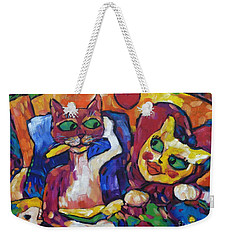 Weekender Tote Bag featuring the painting Looking Swell Cats by Dianne  Connolly