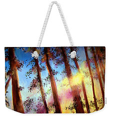 Weekender Tote Bag featuring the painting Looking Through The Trees by Alison Caltrider