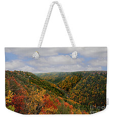 Looking Upriver At Blackwater River Gorge In Fall From Pendleton Point Weekender Tote Bag by Dan Friend