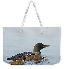 Loon Chicks Cruising With Mom Weekender Tote Bag