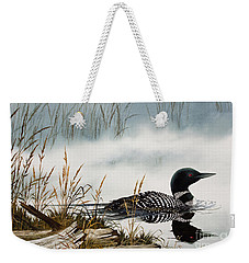 Loons Misty Shore Weekender Tote Bag by James Williamson