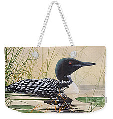 Loon's Tranquil Shore Weekender Tote Bag