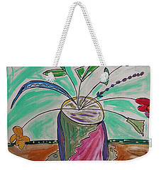Weekender Tote Bag featuring the painting Loose Flowers In A Vase by Mary Carol Williams