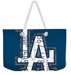 Los Angeles Dodgers Baseball Vintage Logo License Plate Art Weekender Tote Bag