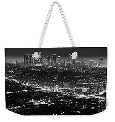Los Angeles Skyline At Night Monochrome Weekender Tote Bag by Bob Christopher