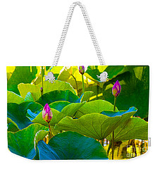 Lotus Garden Weekender Tote Bag by Roselynne Broussard
