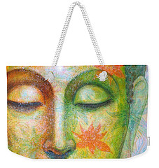 Weekender Tote Bag featuring the painting Lotus Meditation Buddha by Sue Halstenberg