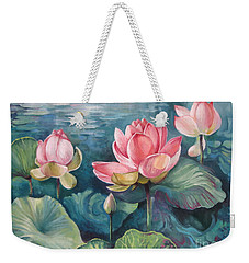 Weekender Tote Bag featuring the painting Lotus Pond by Elena Oleniuc