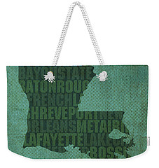 Louisiana Word Art State Map On Canvas Weekender Tote Bag