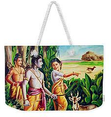 Weekender Tote Bag featuring the painting Love And Valour- Ramayana- The Divine Saga by Ragunath Venkatraman