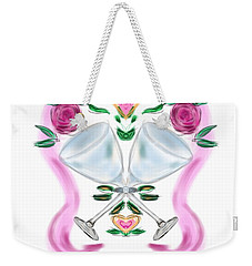 Weekender Tote Bag featuring the digital art Love Birds Anniversary by Christine Fournier