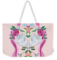 Weekender Tote Bag featuring the digital art Love Birds Pink Wedding by Christine Fournier