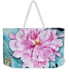 Weekender Tote Bag featuring the mixed media Love Double Happiness With Red Peony by Peter v Quenter