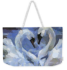 Weekender Tote Bag featuring the painting Love In Blue by Dragica  Micki Fortuna
