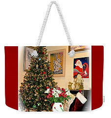 Love In Our Hearts And Santa In The Corner Weekender Tote Bag