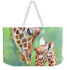 Loving Mother Giraffe2 Weekender Tote Bag by Jane Schnetlage