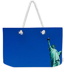 Low Angle View Of Statue Of Liberty Weekender Tote Bag by Panoramic Images