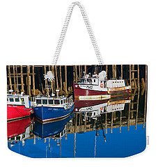 Boats And Reflections At Low Tide On Digby Bay Nova Scotia Weekender Tote Bag