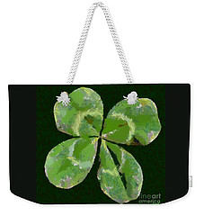 Weekender Tote Bag featuring the painting Lucky Four Leaf Clover by Dragica  Micki Fortuna