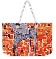 Weekender Tote Bag featuring the painting Lucy Bleu by Donna Howard