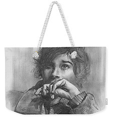 Weekender Tote Bag featuring the drawing Lucy by Paul Davenport